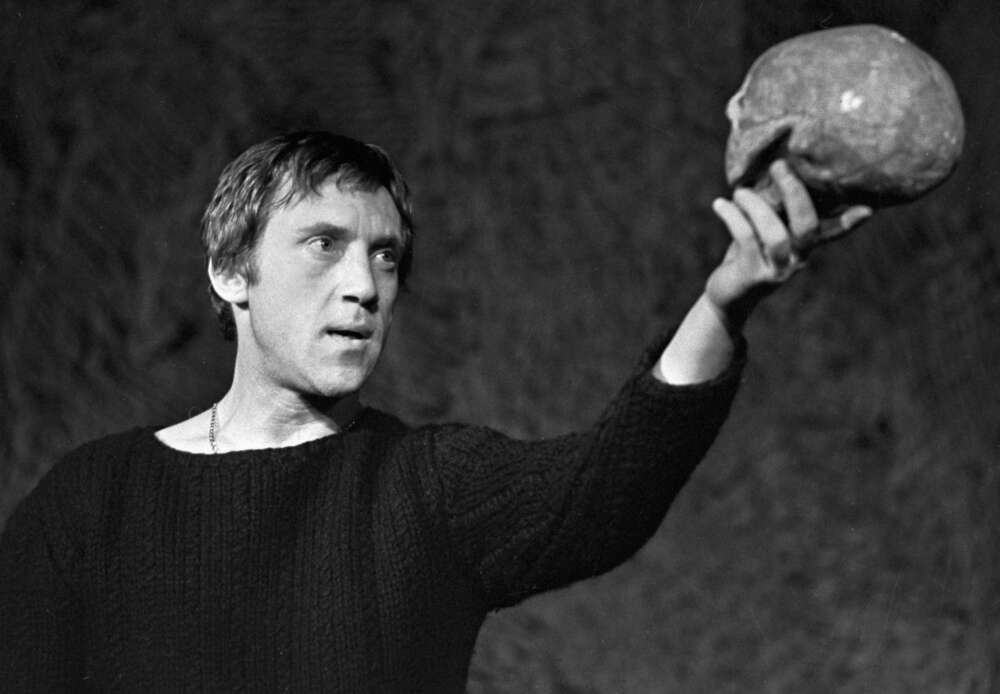Actor Vladimir Vysotsky as Hamlet in theatrical staging of William Shakespeare s tragedy Hamlet