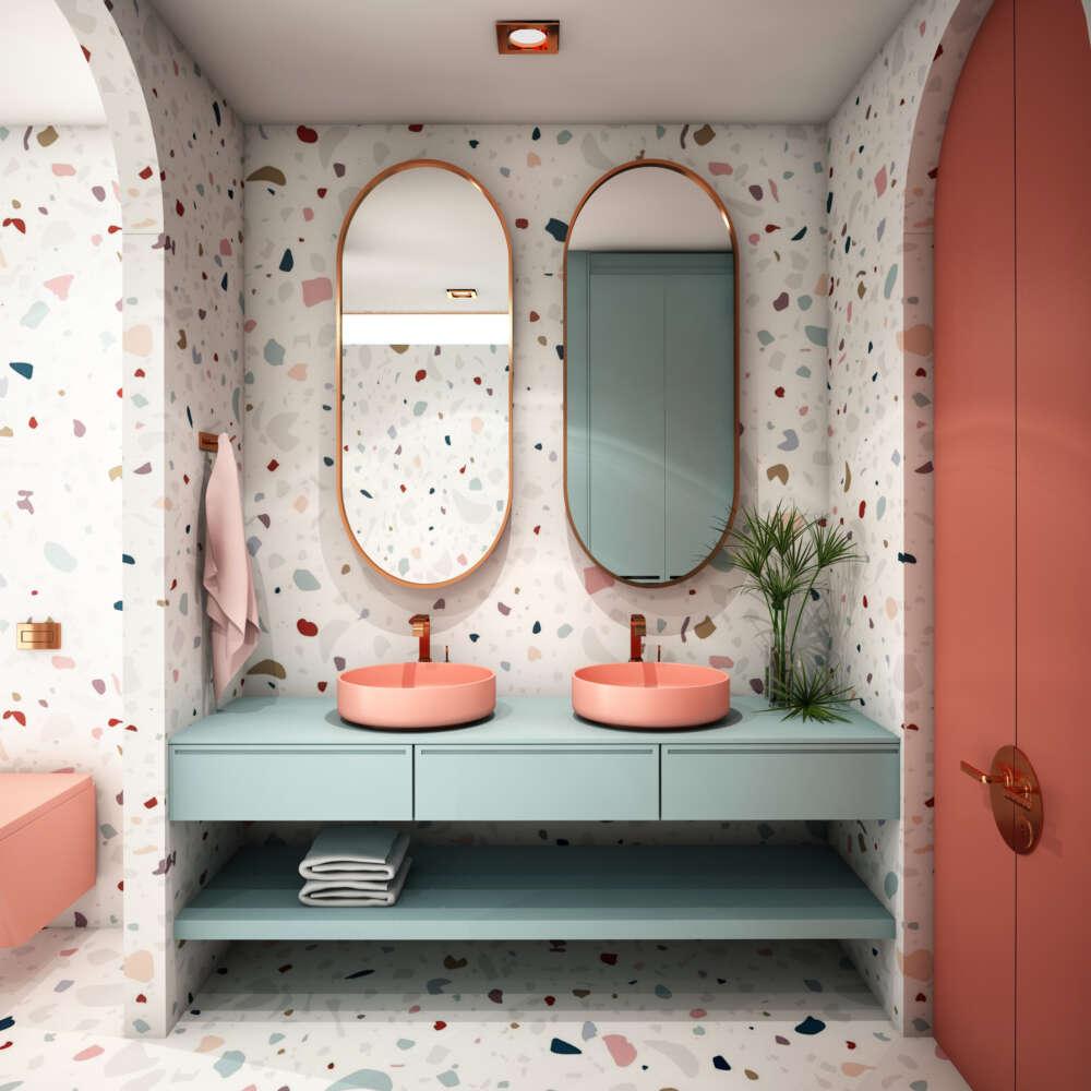 Modern,Bathroom,Interior,Design,trend,Design,2019,,3d,Rendering,,3d,Illustration